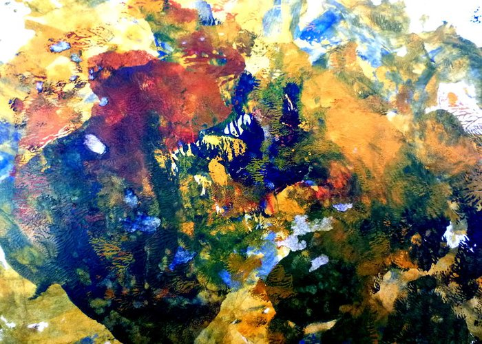 Acrylic Greeting Card featuring the painting Ornaments On The Cow's Head by Aquira Kusume