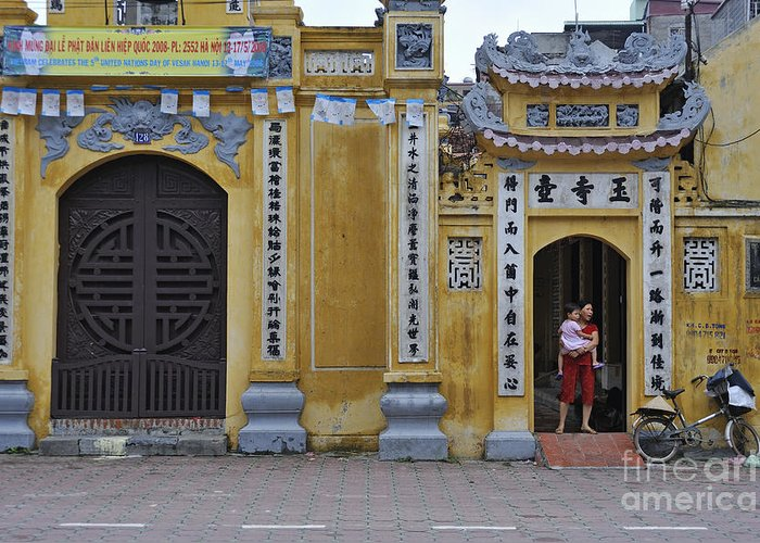 Vietnamese Greeting Card featuring the photograph Ornate Buildings In The City Centre Of Hanoi by Sami Sarkis