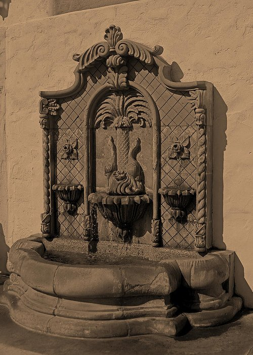 Ornate Wall Fountain Greeting Card featuring the photograph Ornate Wall Fountain by Viktor Savchenko
