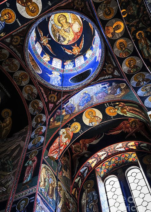 Mosaic Greeting Card featuring the photograph Orthodox Church Interior by Elena Elisseeva