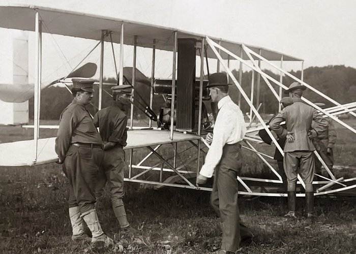 wright Brothers Greeting Card featuring the photograph Orville Wright And Aeroplane 1908 by Daniel Hagerman