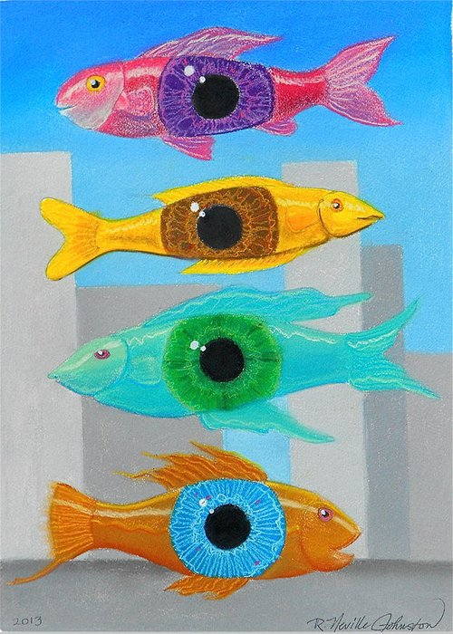 Fish Greeting Card featuring the mixed media Orwellian Times I by R Neville Johnston