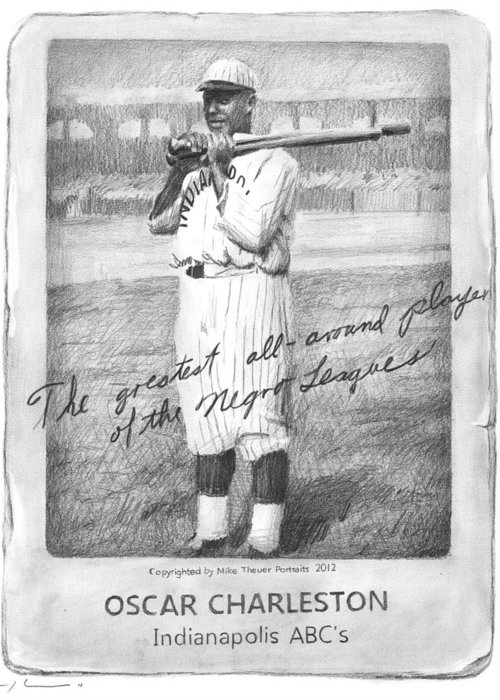 <a Href=http://miketheuer.com Target =_blank>www.miketheuer.com</a> Greeting Card featuring the drawing Oscar Charleston Baseball Card Pencil Portrait by Mike Theuer