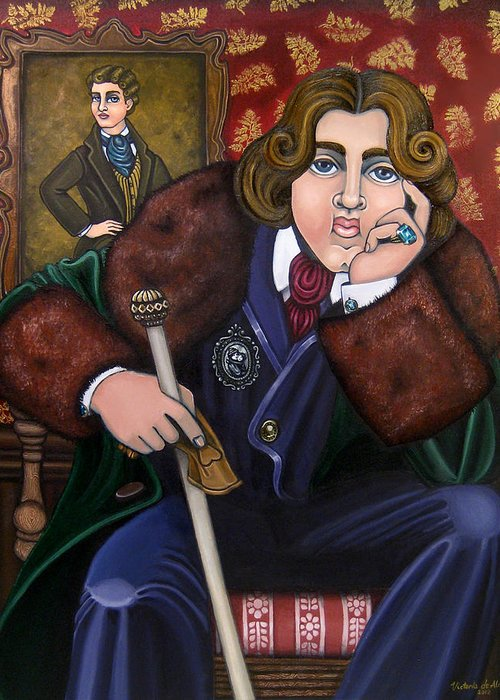 Hispanic Art Greeting Card featuring the painting Oscar Wilde And The Picture Of Dorian Gray by Victoria De Almeida