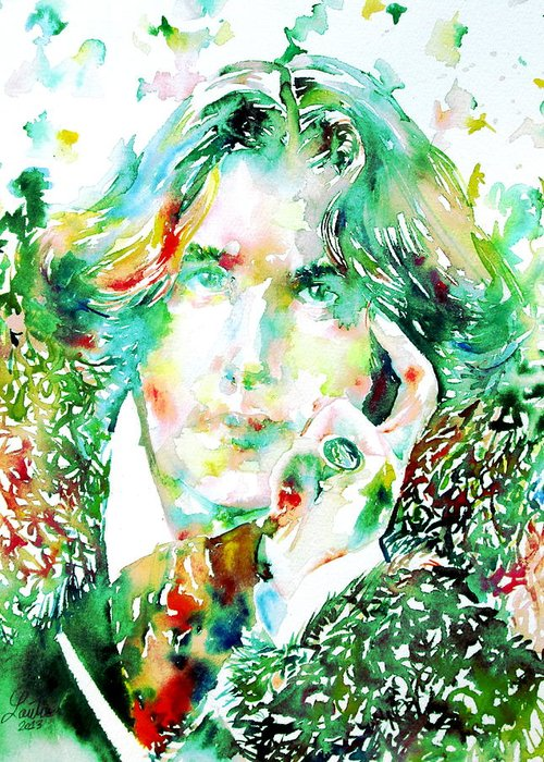 Oscar Greeting Card featuring the painting Oscar Wilde Watercolor Portrait.2 by Fabrizio Cassetta