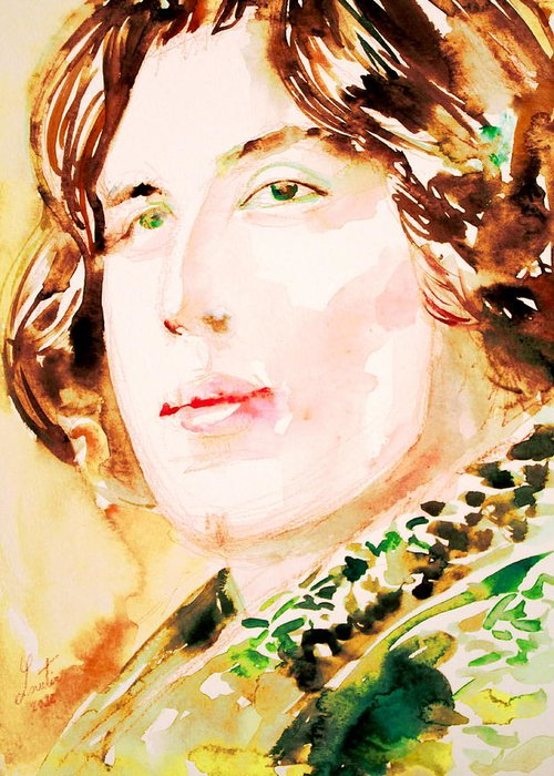 Oscar Greeting Card featuring the painting Oscar Wilde Watercolor Portrait.3 by Fabrizio Cassetta