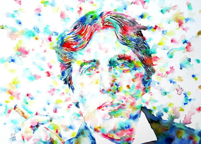 Oscar Greeting Card featuring the painting Oscar Wilde With Cigar - Watercolor Portrait by Fabrizio Cassetta
