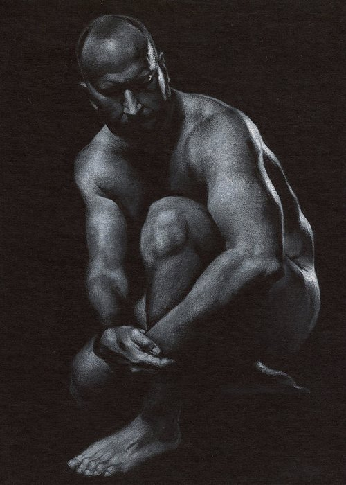 Male Greeting Card featuring the drawing Oscuro 10 by Chris Lopez