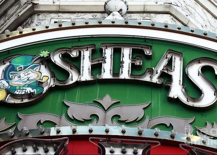 O'sheas Greeting Card featuring the photograph O'sheas by John Rizzuto