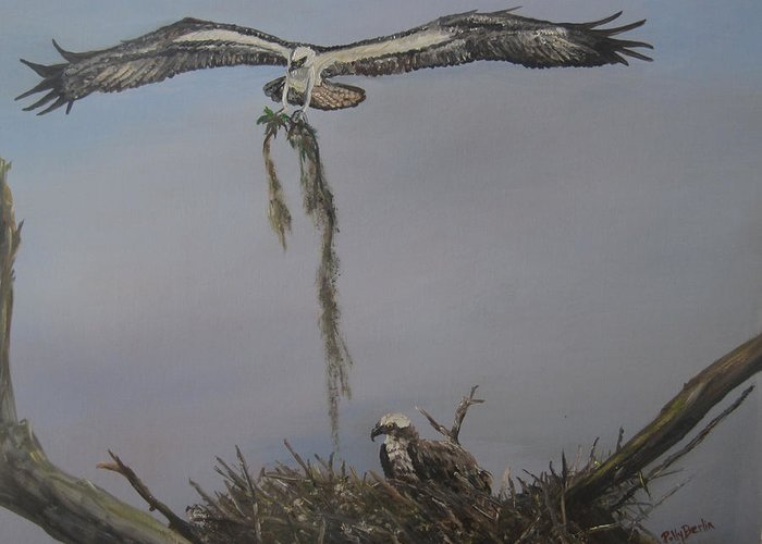 Ospreys And Nest Greeting Card featuring the painting Ospreys Together by Polly Berlin