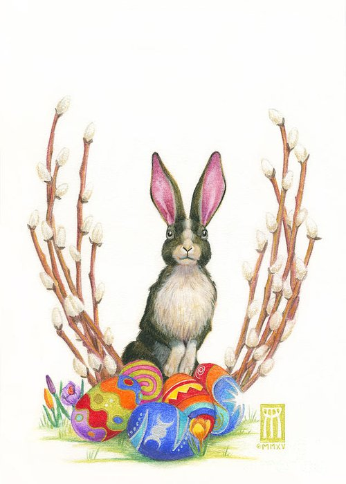Online Pagan Art Greeting Card featuring the painting Ostara Bunny by Melissa A Benson