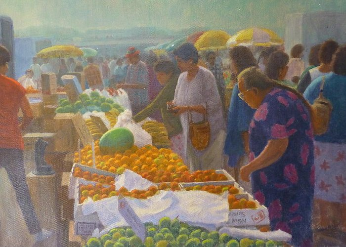 Markets Greeting Card featuring the painting Otara Market. Auckland Nz. by Terry Perham