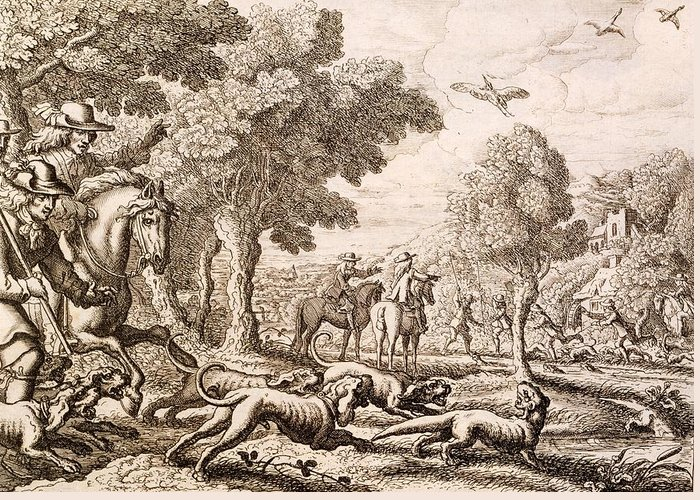 Hunt Greeting Card featuring the painting Otter Hunting By A River, Engraved by Francis Barlow