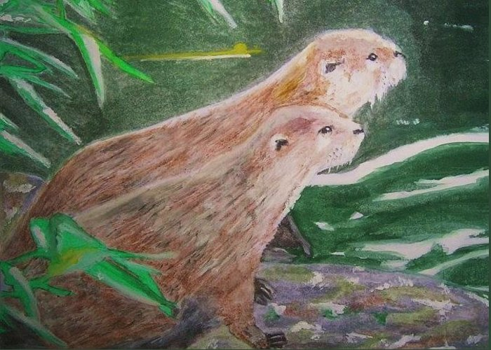 Otters Greeting Card featuring the painting Otter Plot by Graham Wood