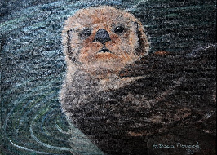Otters Greeting Card featuring the painting Ottertude by Patricia Novack