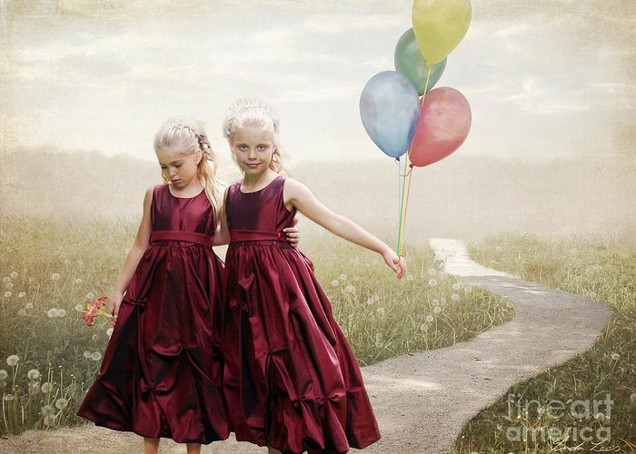 Beautiful Greeting Card featuring the digital art Our Hearts Say We're Friends by Linda Lees