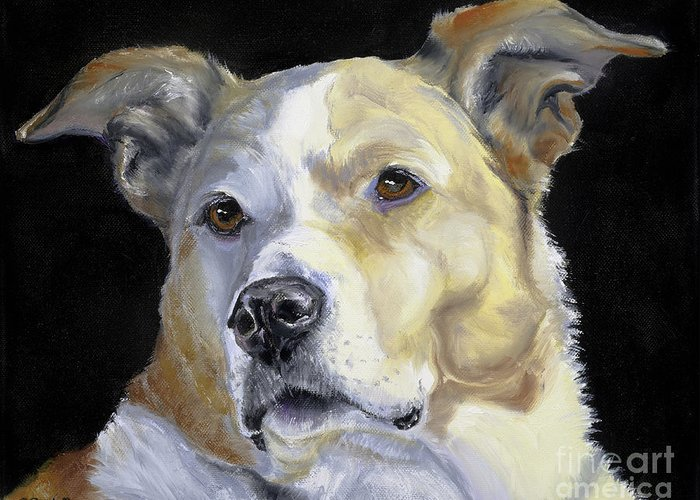 Dogs Greeting Card featuring the painting Our Hero by Susan A Becker