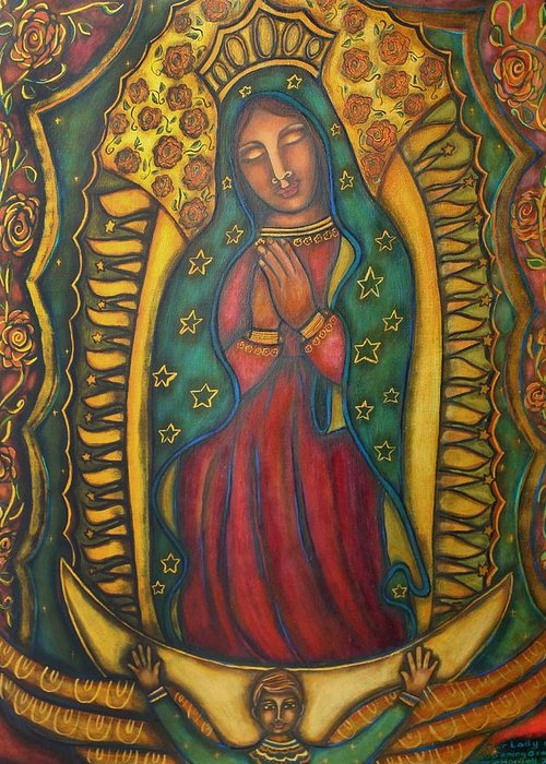 Marie Howell Gallery Greeting Card featuring the painting Our Lady Of Glistening Grace by Marie Howell Gallery