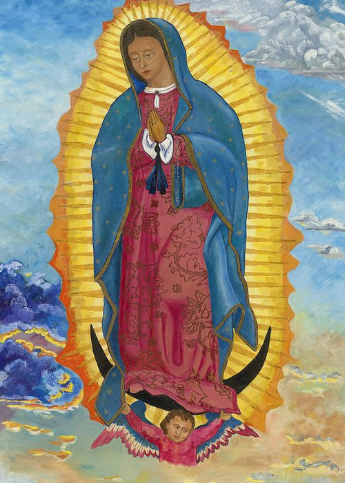 Our Lady Of Guadalupe Greeting Card featuring the painting Our Lady Of Guadalupe-new Dawn by Mark Robbins