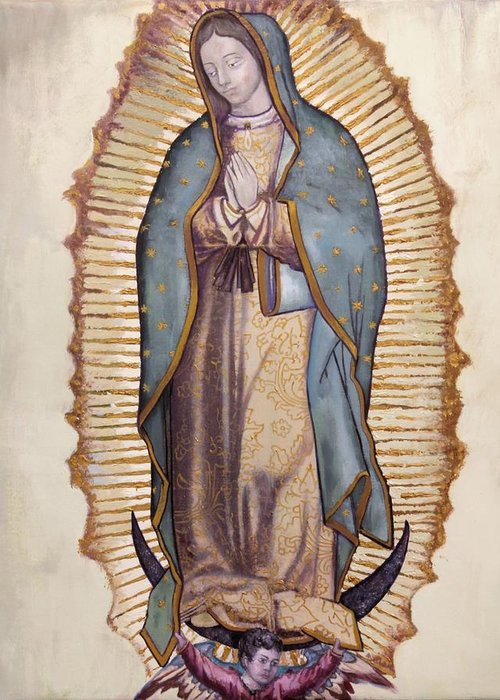 Virgin Greeting Card featuring the painting Our Lady Of Guadalupe by Richard Barone