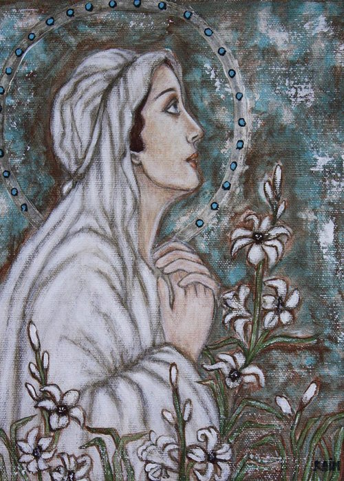 Folk Art Paintings Greeting Card featuring the painting Our Lady Of Mental Peace by Rain Ririn