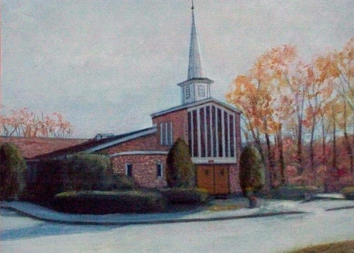 Church Greeting Card featuring the painting Our Lady Of The Lakeschurch Oakdale Ct by William H RaVell III