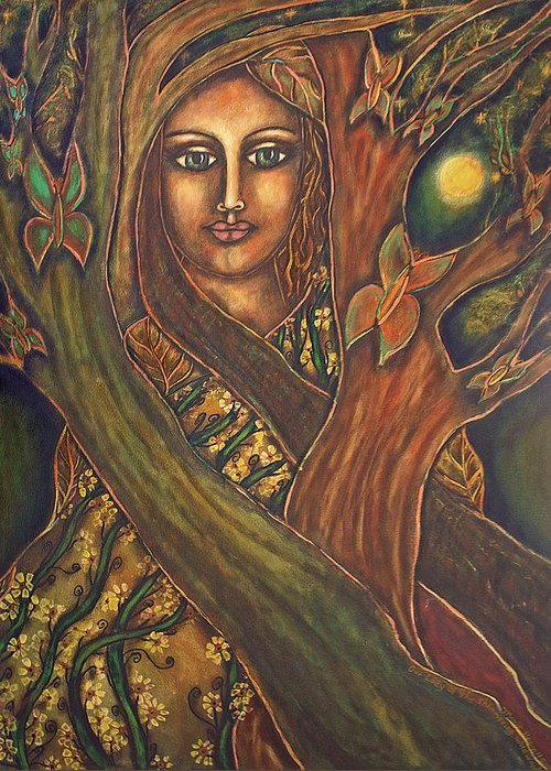 Visionary Artist Greeting Card featuring the painting Our Lady Of The Shimmering Wildwood by Marie Howell Gallery