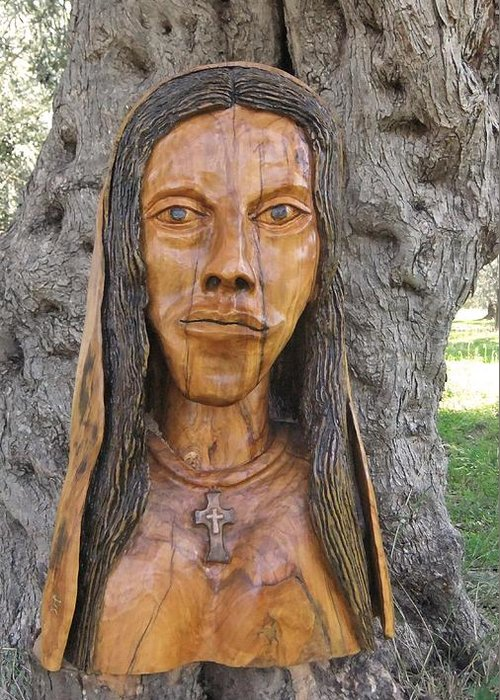 Our Lady Greeting Card featuring the sculpture Our Lady Olive Wood Sculpture by Eric Kempson