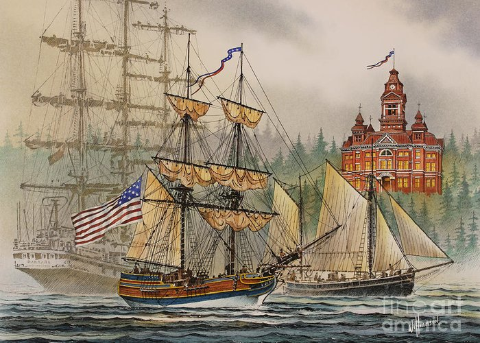 Seafaring Print Greeting Card featuring the painting Our Seafaring Heritage by James Williamson