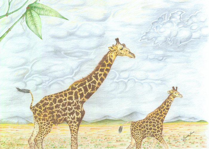 Landscapes Greeting Card featuring the drawing Out For A Stroll by Donald Jones