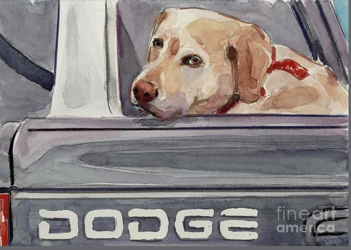 Yellow Dog Greeting Card featuring the painting Out Of Dodge by Molly Poole