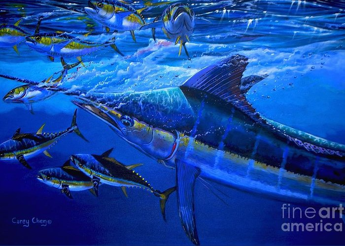 Marlin Greeting Card featuring the painting Out Of The Blue by Carey Chen