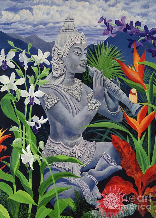 Buddah Greeting Card featuring the painting Out Of The Blue by Danielle Perry