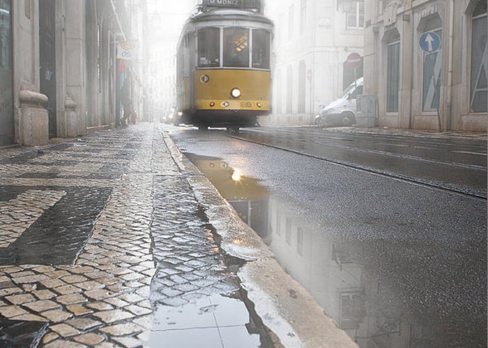 Lisbon Greeting Card featuring the photograph Out Of The Haze by Jorge Maia