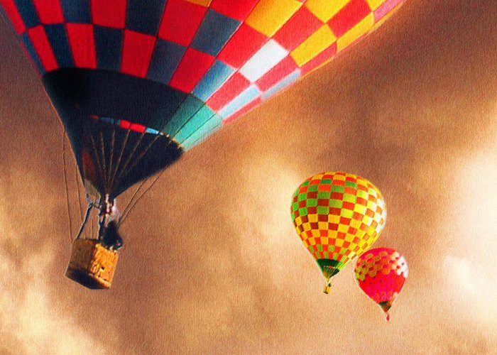 Hot Air Balloons Greeting Card featuring the painting Out Of The Storm by Artist and Photographer Laura Wrede