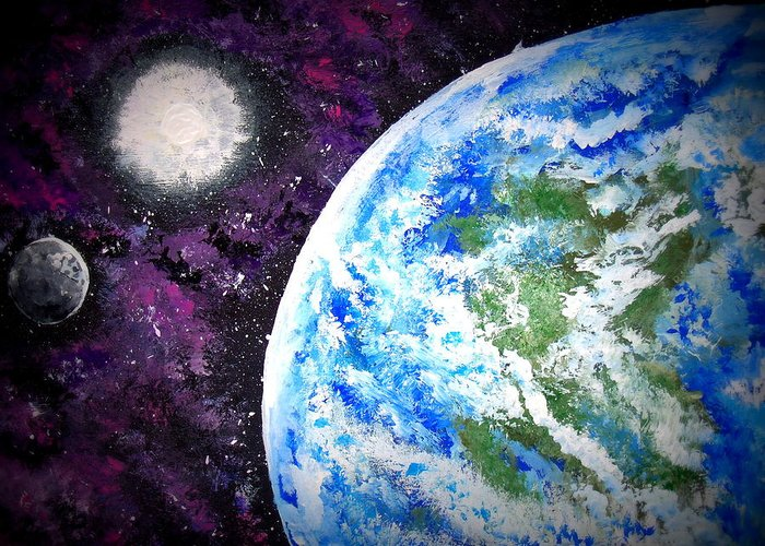 Outer Space Greeting Card featuring the painting Out Of This World by Daniel Nadeau