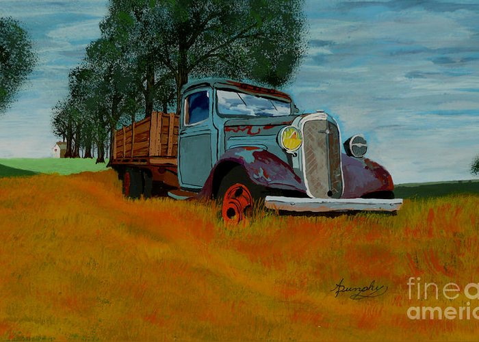 Truck Greeting Card featuring the painting Out To Pasture by Anthony Dunphy