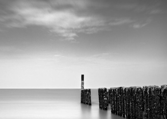 Groynes Greeting Card featuring the photograph Out To Sea by Dave Bowman