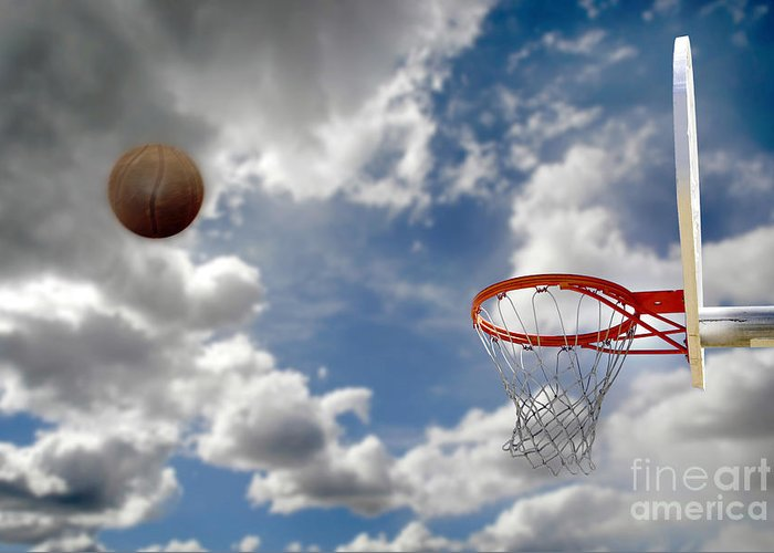 Abstract Greeting Card featuring the photograph Outdoor Basketball Shot by Lane Erickson