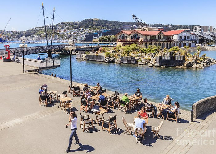 New Zealand Greeting Card featuring the photograph Outdoor Cafe Wellington New Zealand by Colin and Linda McKie