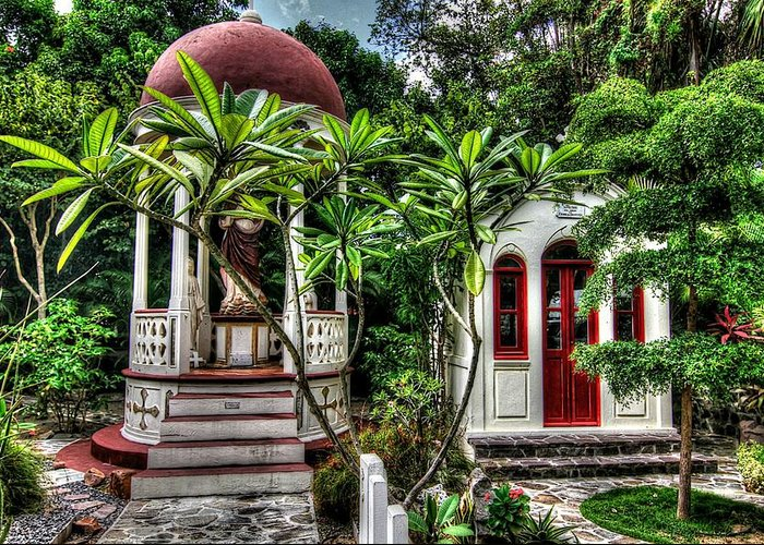 St. Barths Greeting Card featuring the photograph Outdoor Chapel In Gustavia by Heidi Piccerelli