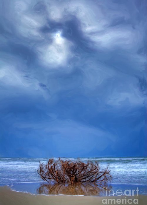 Driftwood Greeting Card featuring the painting Outer Banks - Driftwood Bush On Beach In Surf II by Dan Carmichael