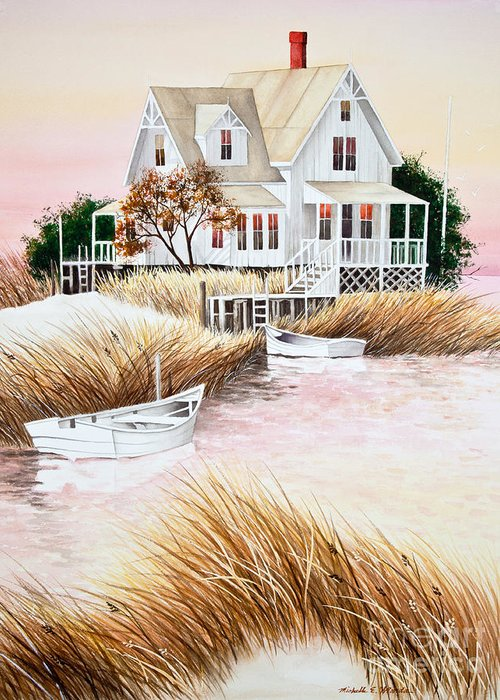 Summer Greeting Card featuring the painting Outer Banks Summer Morning by Michelle Wiarda