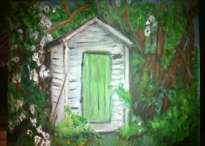 Outhouses Greeting Card featuring the painting Outhouse Greenery by Ginger Bear