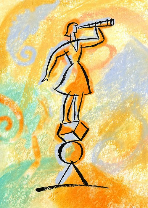 Balancing Boost Business Opportunity Businesswoman Female Future Look Looking Opportunities Opportunity Outlook Oversee Perspective Shape Shapes Supervise Supervision Supervisor Vantage Point Watch Watcher Watchers Watching Woman Greeting Card featuring the painting Outlook by Leon Zernitsky