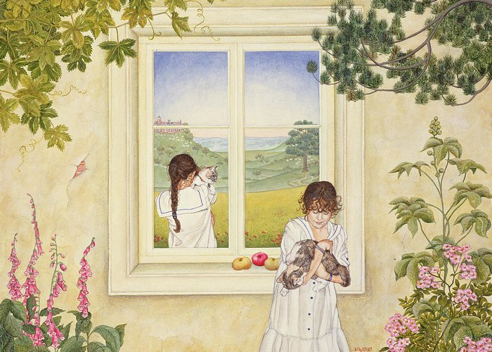 Window Greeting Card featuring the photograph Outside Out Times Julie, 1988 by Ditz
