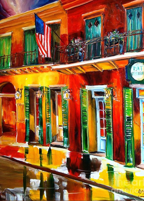 New Orleans Greeting Card featuring the painting Outside Pat O'brien's Bar by Diane Millsap