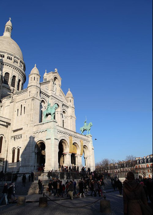 And Greeting Card featuring the photograph Outside The Basilica Of The Sacred Heart Of Paris - Sacre Coeur - Paris France - 01136 by DC Photographer