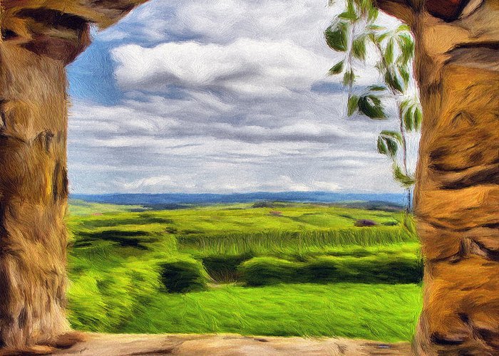 Cetatuia Greeting Card featuring the painting Outside The Fortress Wall by Jeff Kolker