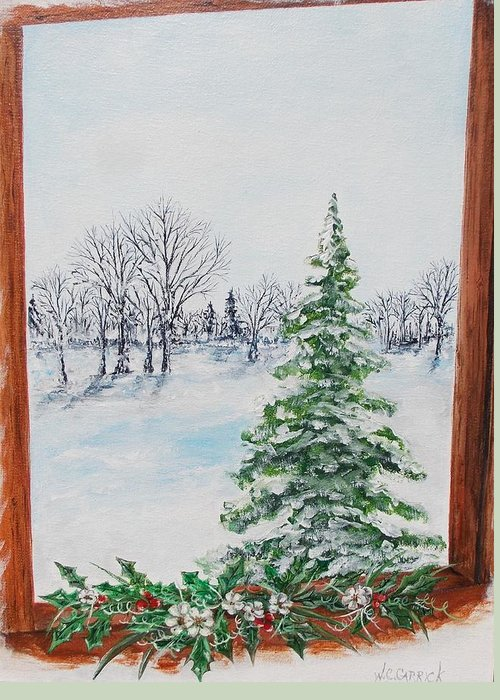 Outside Greeting Card featuring the painting Outside The Window by Walter Carrick